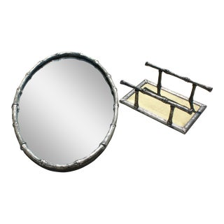 Petite Silver Faux Bamboo Wall Mirror/Tray and Napkin Holder