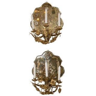 Etched Mirror Shell-Shape Sconces - A Pair
