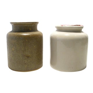 Pair of Vintage French Ironstone Mustard Jars, A Pair