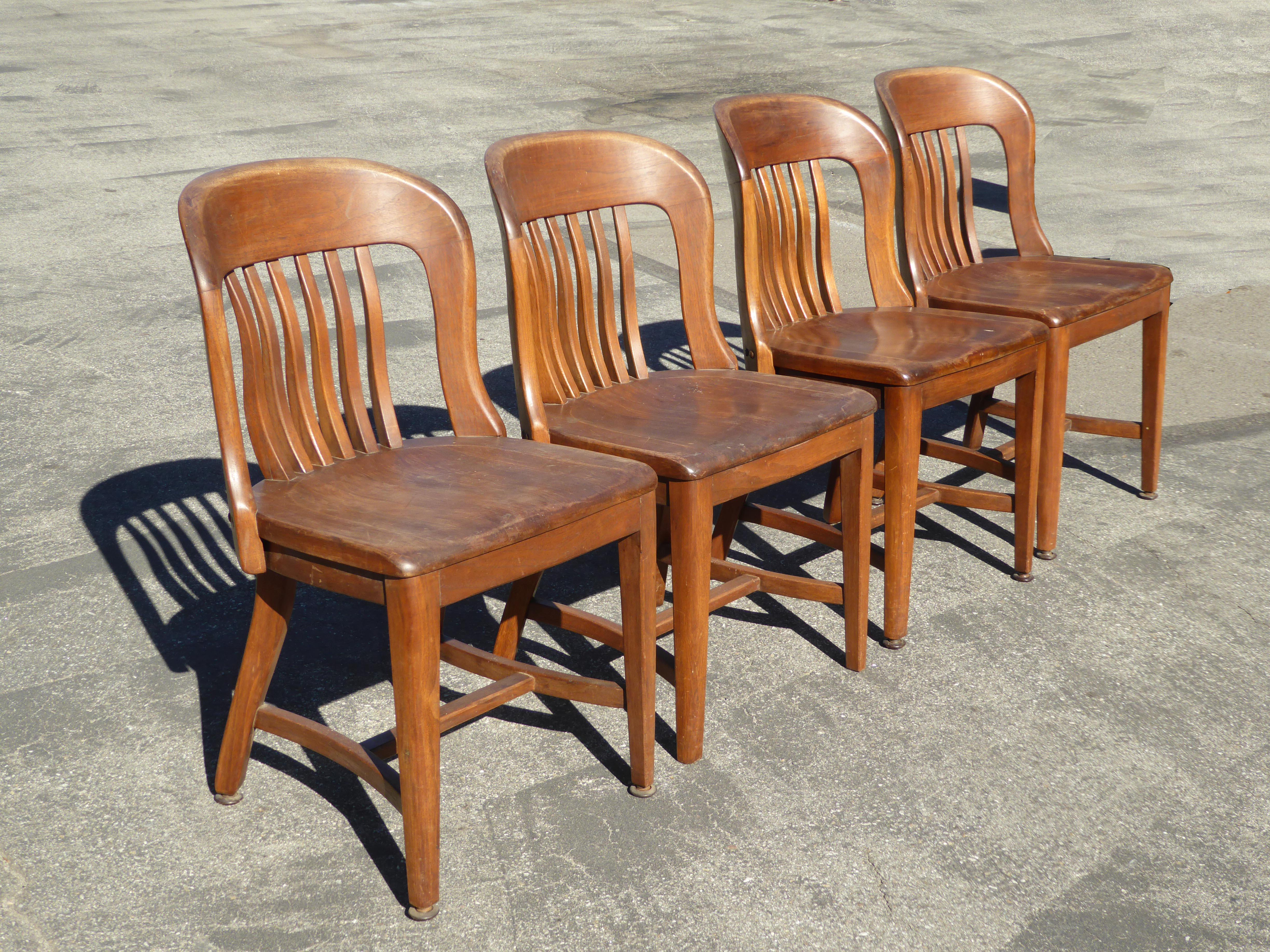 Set Of 4 Vintage Mid Century Brown Solid Wood Farmhouse Chic Library School  House Chairs