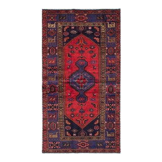 """HAMADAN Vintage Persian Rug, 4'4"""" x 8'1"""" feet"""