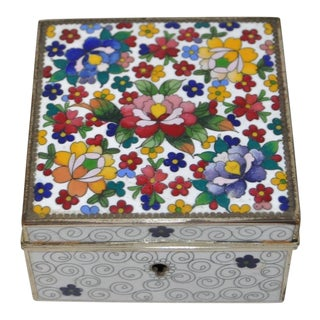 Vintage Cloisonne Box w/ Flowers, Circa 1920s