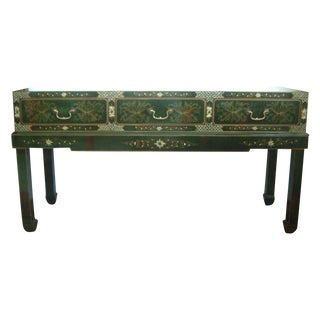 Oriental Console Table, Green Lacquer