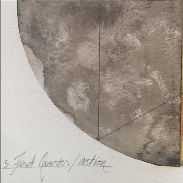Image of First Quarter Moon Watercolor Painting