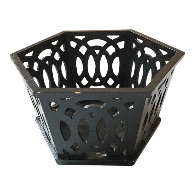 English Fretwork Octagonal Ebonized Wood Cachepot - Image 1 of 6