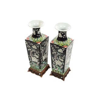 Chinese Famille Noire Porcelain Vases - A Pair