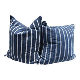 African Mud Cloth Indigo Pillows - A Pair