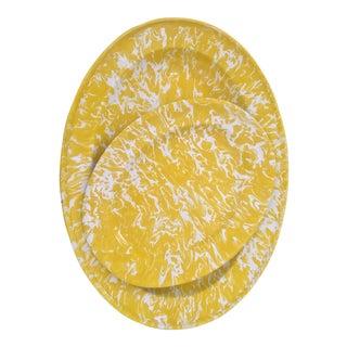 Vintage Yellow Enamelware Trays - a Pair