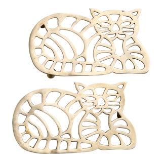 Brass Cat Trivets - Pair