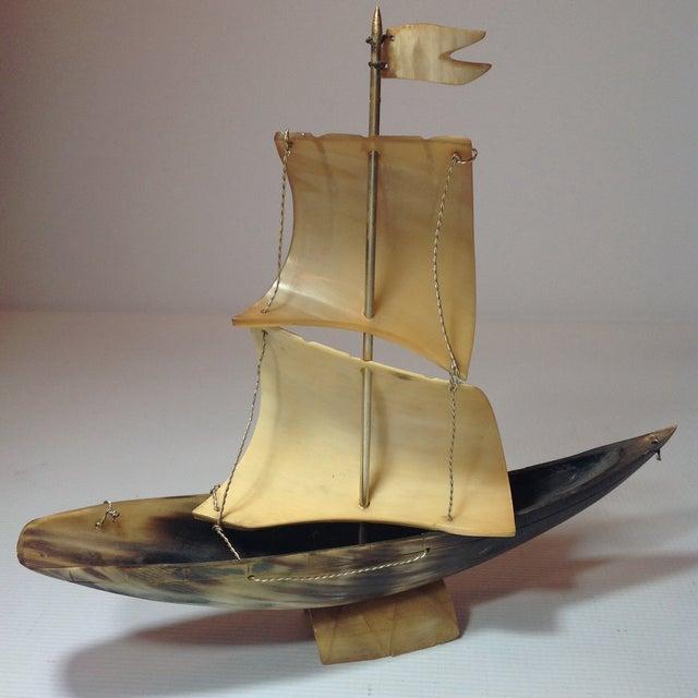 Vintage Bone Boat Sculpture - Image 3 of 5