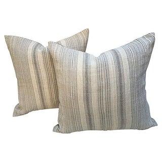 Silver Striped Homespun Linen Pillows - Pair