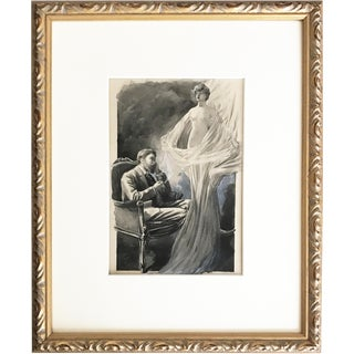 Beautiful Nude Apparition 1890s Antique Watercolor & Ink Illustration