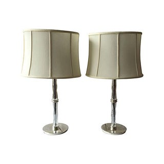Chrome and Glass Table Lamps - Pair