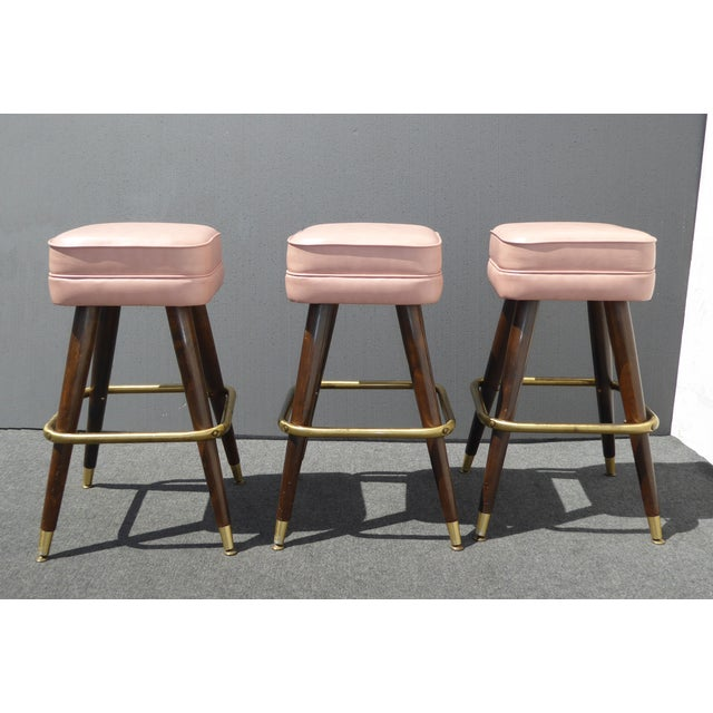 Retro Pink Vinyl Bar Stools - Set of 3 - Image 2 of 11