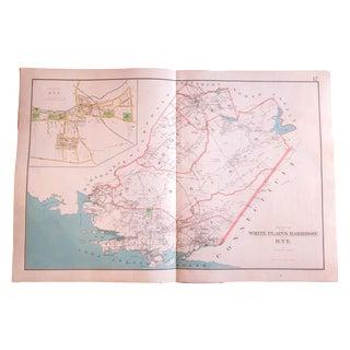 Antique Map of White Plains, Harrison, & Rye New York