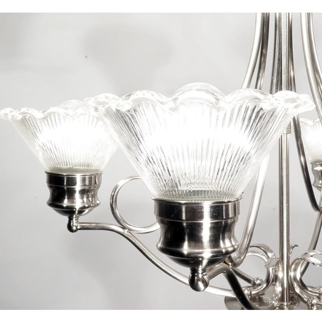Stainless Steel & Halophane Chandelier - Image 4 of 7
