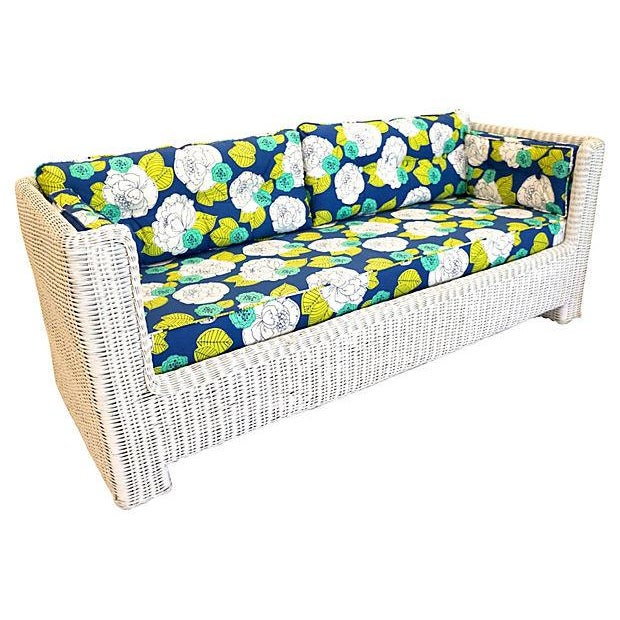 White Wicker Indoor/Outdoor Sofa - Image 1 of 7