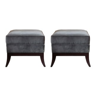 Hickory Chair Plush Velvet Ottomans - A Pair