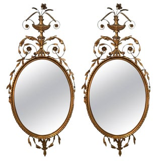 Gilt Gold Adams Style Wall Console Mirrors - A Pair