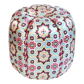 Moroccan Pink Zellig Fabric Pouf