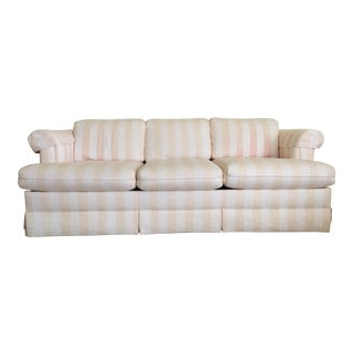 Cream & Peach Striped Queen Sleeper Sofa