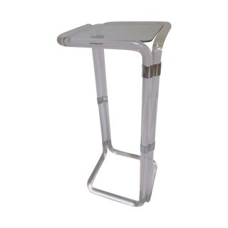 Thick Banded Lucite Pedestal Stand Table