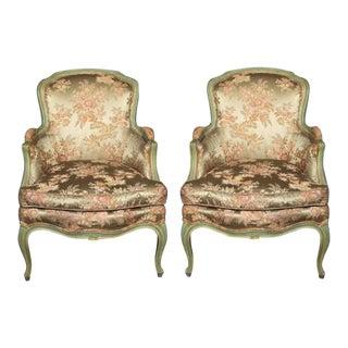 Louis XV Style Silk Bergère Chairs - A Pair