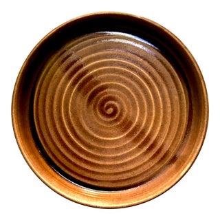 Signed Studio Pottery Glossy Brown Glaze Rimmed Swirl Platter