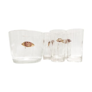 Mid Century Gold Fish Ice Bucket Tumblers - Set of 4