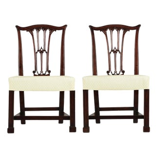 18th Century Chippendale Period Mahogany Side Chairs - a Pair