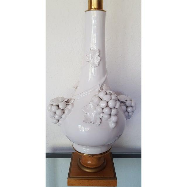 Hollywood Regency Porcelain Grape Cluster Lamp - Image 3 of 7