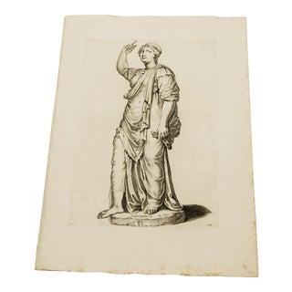 Old Master Engraving of Roman Statue- Galleria Giustiniana C. 1635