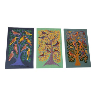 Narmada Prasad Tekam Tribal Art Tree Series - Set of 3