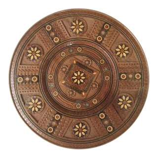 Inlaid Bead & Carved Wood Wall Plate