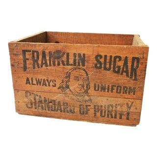 Vintage Benjamin Franklin Sugar Industrial Wood Shipping Crate