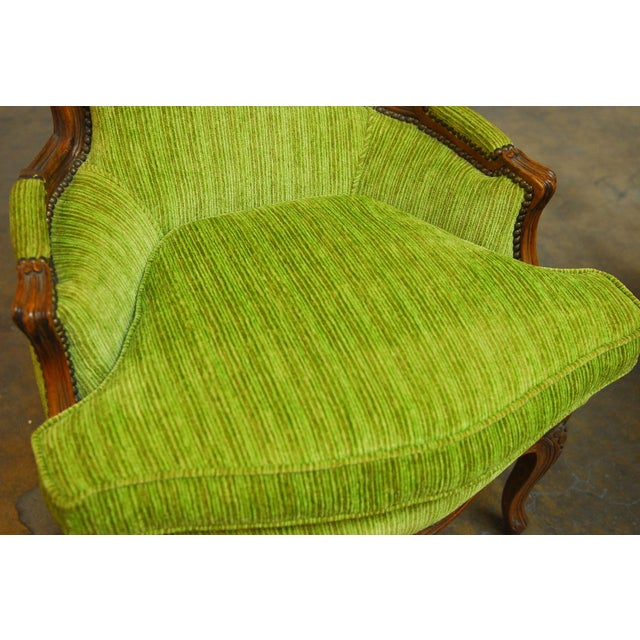 Louis XV Carved Chartreuse Velvet Bergeres - Pair - Image 5 of 8