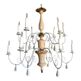 Twelve-Light Italian Painted Iron and Wood Chandelier