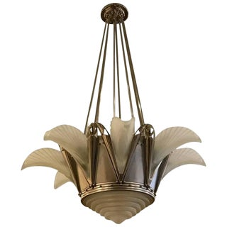 G Leleu Signed French Art Deco Chandelier
