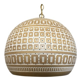 1960s Art Pottery Pendant Light