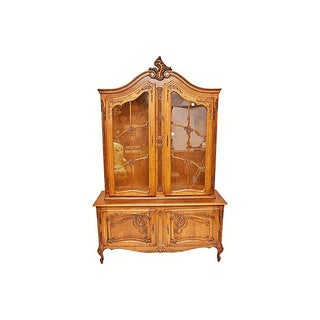 Antique Hand Carved Oak Louis XV-Style Hutch