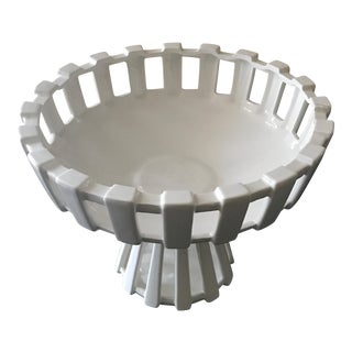 White Lattice Pierced Pedestal Bowl