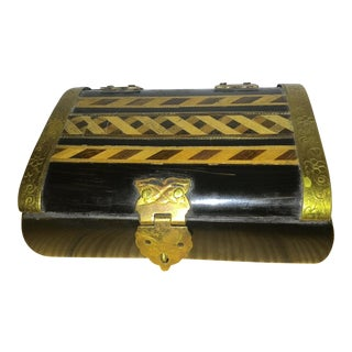 Vintage Black Inlaid Wood Trinket Box