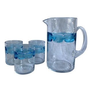 Hand Blown Blue Glass Pitcher & Glasses - Set of 4