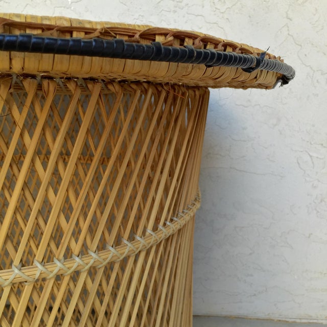 Mcm Rattan Wicker Woven Glass Round Side Table Chairish