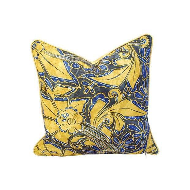 Scalamandre Blue & Gold Silk Pillows - A Pair - Image 2 of 7