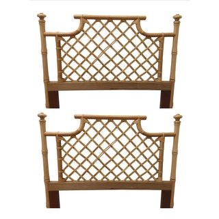 Faux Bamboo Wood Twin Headboards - Pair