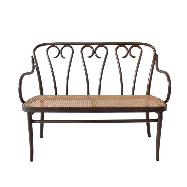 Vintage Bentwood Cane Bench Chairish