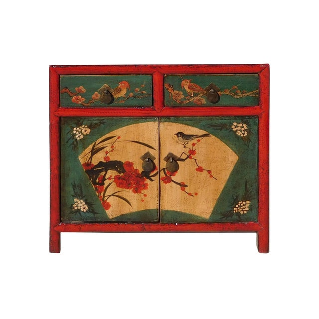 Chinese Red Green Flower Bird Nightstand - Image 1 of 6