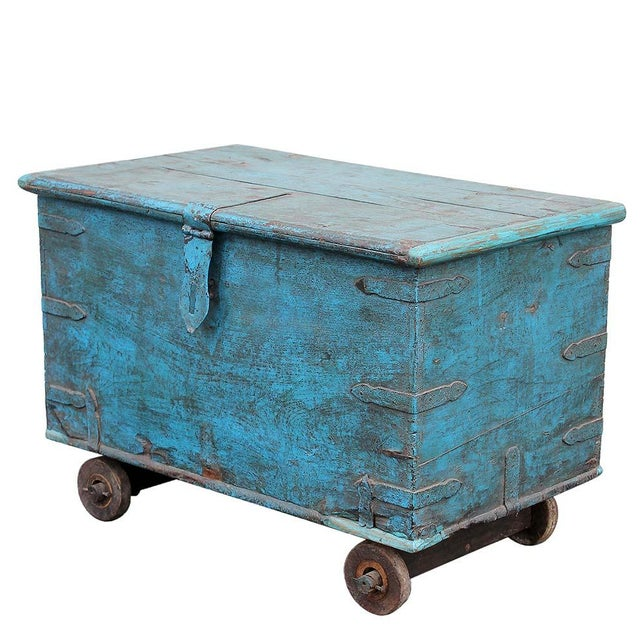 Vintage Teal Wheeled Wood Chest - Image 1 of 5