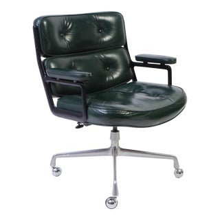 Eames Green Leather Time Life Chair for Herman Miller
